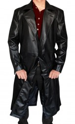 Black Mens Leather Long Coat