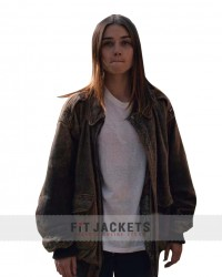 Jessica Barden Distressed Leather Jacket