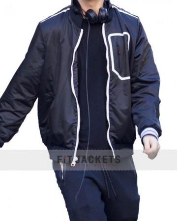 ansel elgort baby  bomber jacket