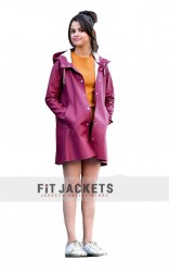 A Rainy Day In Newyork Selena Gomez Burgundy Coat