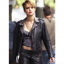 Stylish Keira Knightley Black Leather Jacket