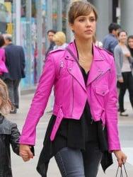 Ladies Hot Pink Leather Jacket