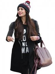 Leather Sleeve Vanessa Hudgens Coat